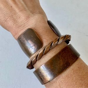 Set of 3 copper cuffs